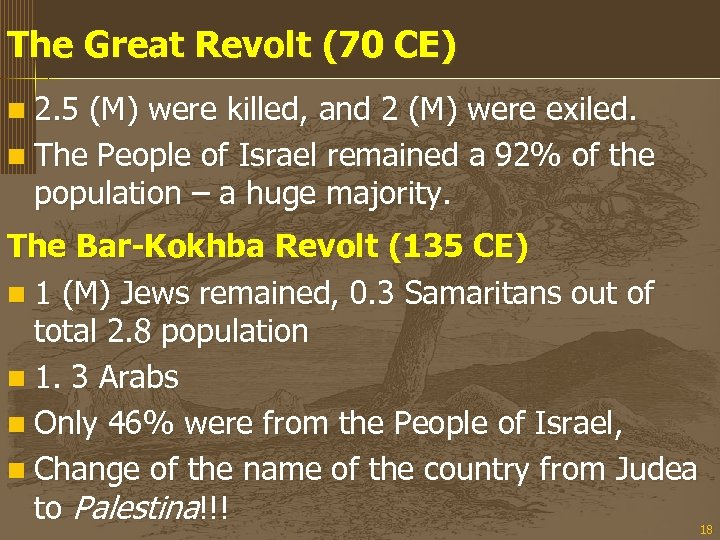 The Great Revolt (70 CE) n 2. 5 (M) were killed, and 2 (M)