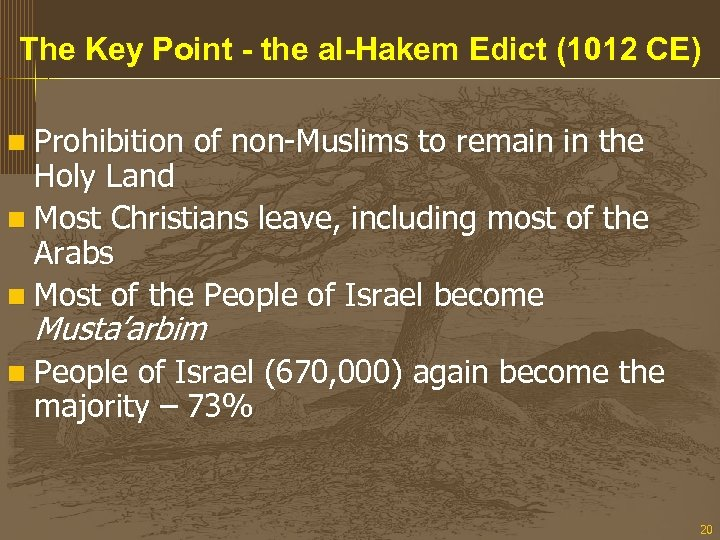 The Key Point - the al-Hakem Edict (1012 CE) n Prohibition of non-Muslims to