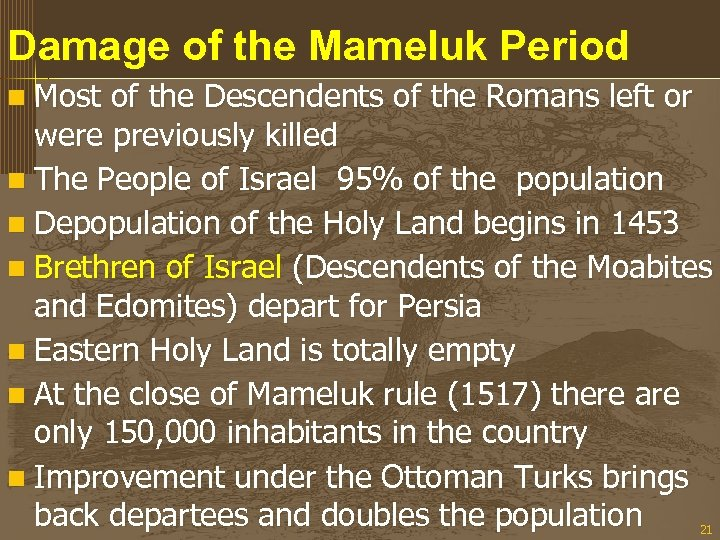 Damage of the Mameluk Period n Most of the Descendents of the Romans left