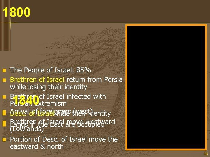 1800 n n n n The People of Israel: 85% Brethren of Israel return