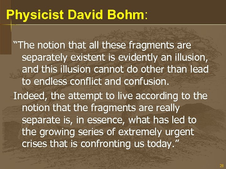 """Physicist David Bohm: """"The notion that all these fragments are separately existent is evidently"""