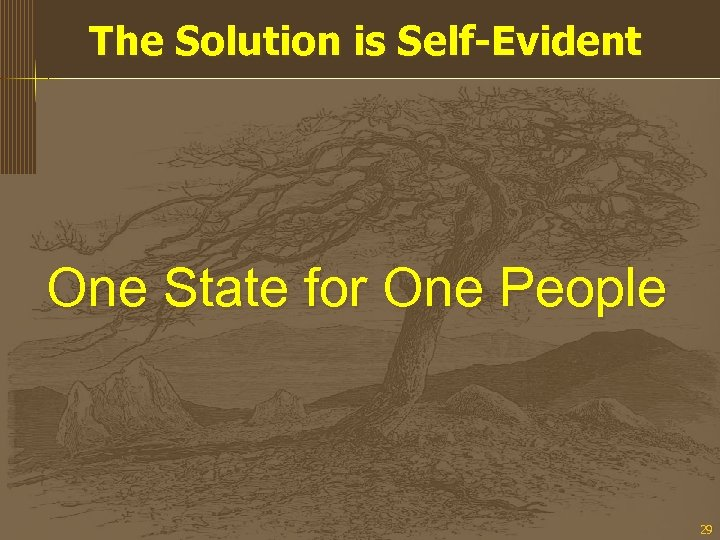 The Solution is Self-Evident One State for One People 29