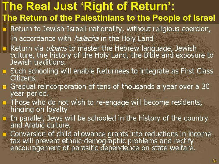The Real Just 'Right of Return': The Return of the Palestinians to the People