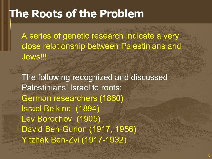 The Roots of the Problem A series of genetic research indicate a very close