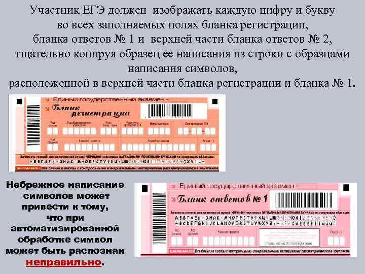 Участник ЕГЭ должен изображать каждую цифру и букву во всех заполняемых полях бланка регистрации,