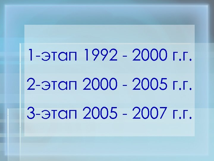 1 -этап 1992 - 2000 г. г. 2 -этап 2000 - 2005 г. г.