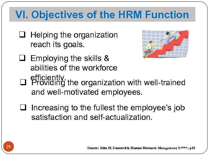 VI. Objectives of the HRM Function q Helping the organization reach its goals. q