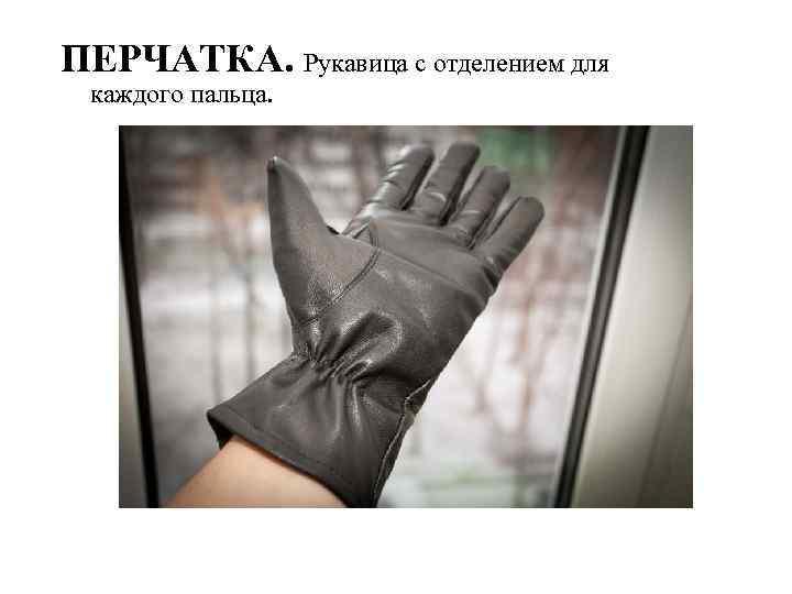 ПЕРЧАТКА. Рукавица с отделением для каждого пальца.