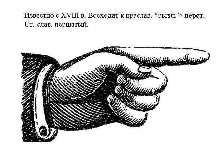 Известно с XVIII в. Восходит к праслав. *pьrstъ > перст. Ст. -слав. перщатый.