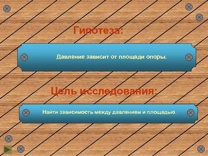Гипотеза: Давление зависит от площади опоры. Цель исследования: Найти зависимость между давлением и площадью.