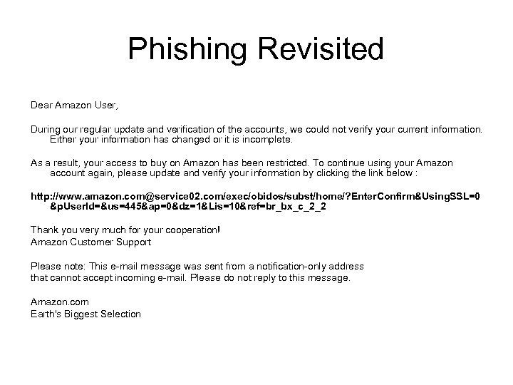 Phishing Revisited Dear Amazon User, During our regular update and verification of the accounts,