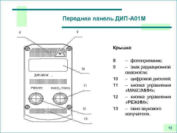 Передняя панель ДИП-А 01 М 9 8 Крышка: 10 ДИП-А 01 М 11 8