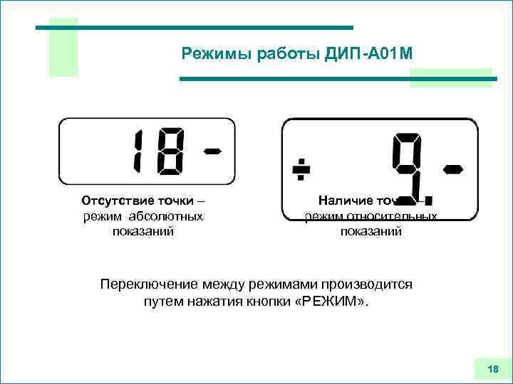 Режимы работы ДИП-А 01 М Отсутствие точки – режим абсолютных показаний Наличие точки –