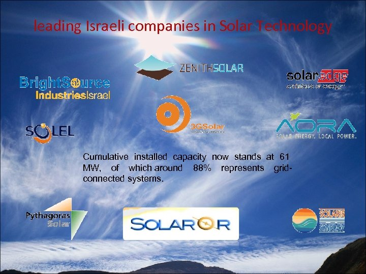 leading Israeli companies in Solar Technology Cumulative installed capacity now stands at 61 MW,