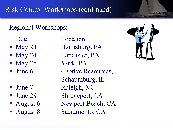 Risk Control Workshops (continued) Regional Workshops: § § Date May 23 May 24 May