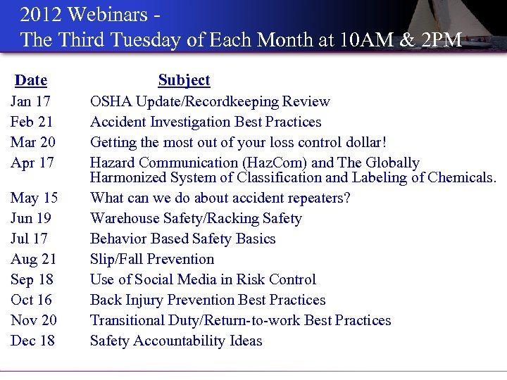 2012 Webinars The Third Tuesday of Each Month at 10 AM & 2 PM