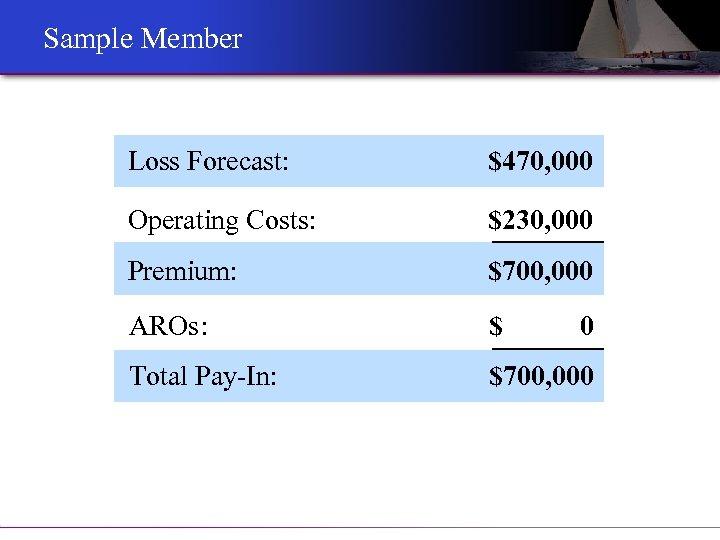 Sample Member Loss Forecast: $470, 000 Operating Costs: $230, 000 Premium: $700, 000 AROs: