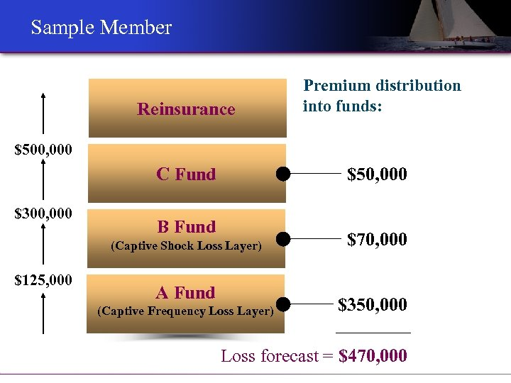 Sample Member Reinsurance Premium distribution into funds: $500, 000 $50, 000 C Fund $300,