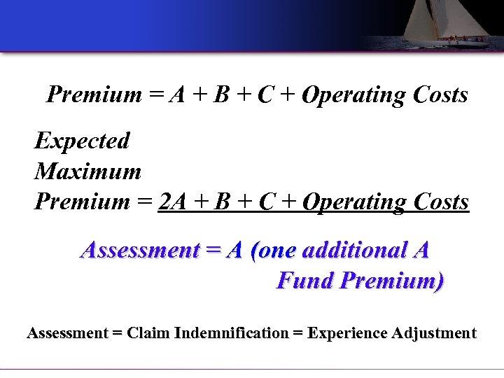Premium = A + B + C + Operating Costs Expected Maximum Premium =