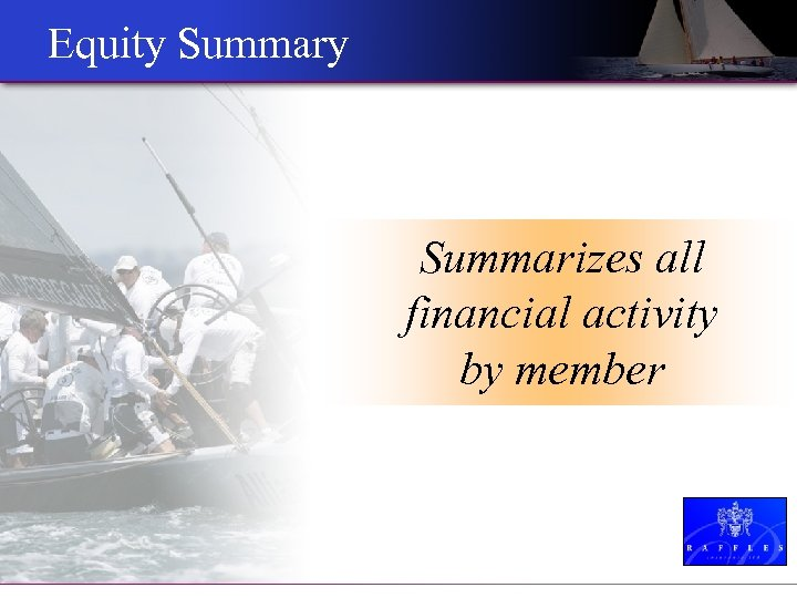 Equity Summarizes all financial activity by member