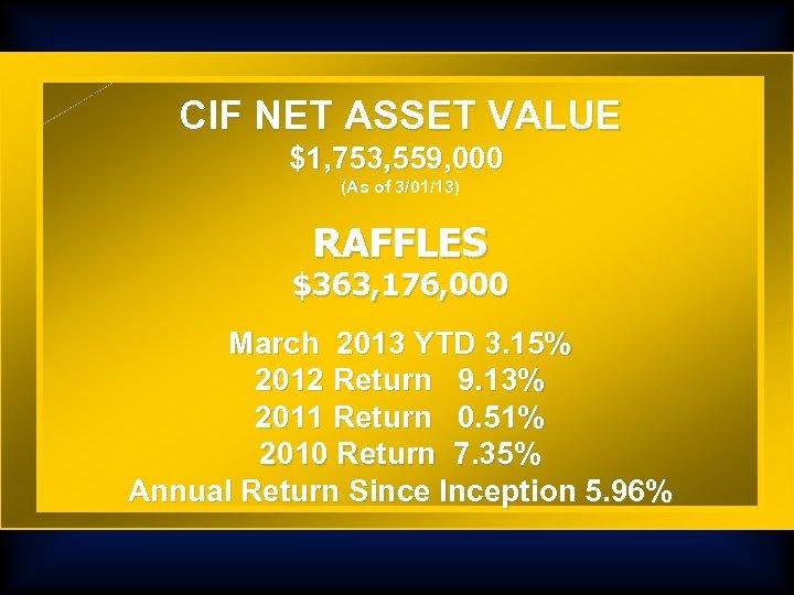 CIF NET ASSET VALUE $1, 753, 559, 000 (As of 3/01/13) RAFFLES $363, 176,