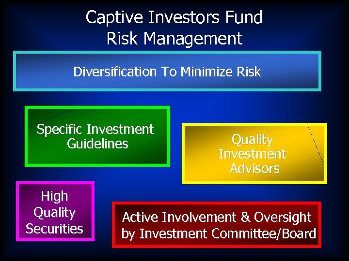 Captive Investors Fund Risk Management Diversification To Minimize Risk Specific Investment Guidelines High Quality
