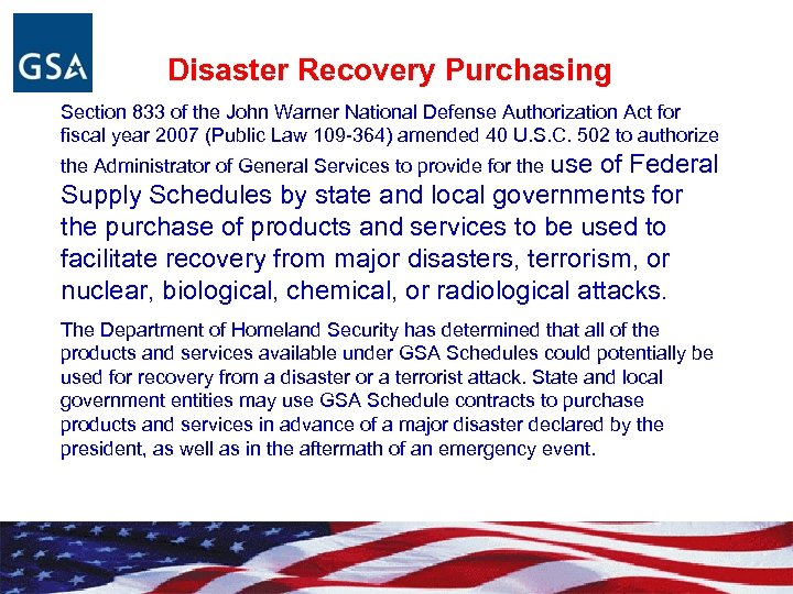 Disaster Recovery Purchasing Section 833 of the John Warner National Defense Authorization Act for