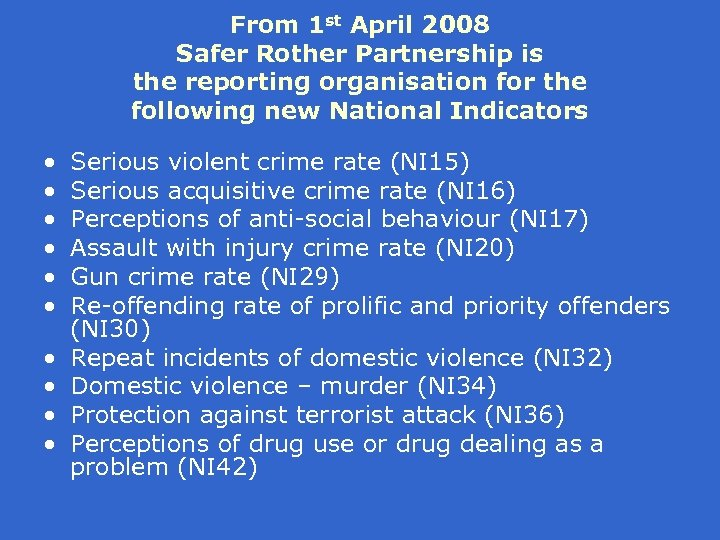 From 1 st April 2008 Safer Rother Partnership is the reporting organisation for the