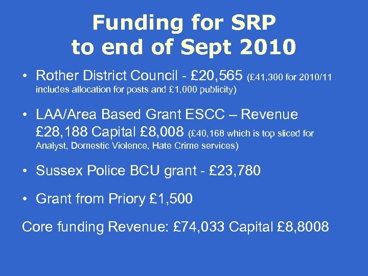 Funding for SRP to end of Sept 2010 • Rother District Council - £