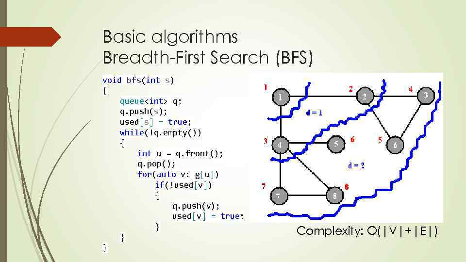Basic algorithms Breadth-First Search (BFS) void bfs(int s) { queue<int> q; q. push(s); used[s]