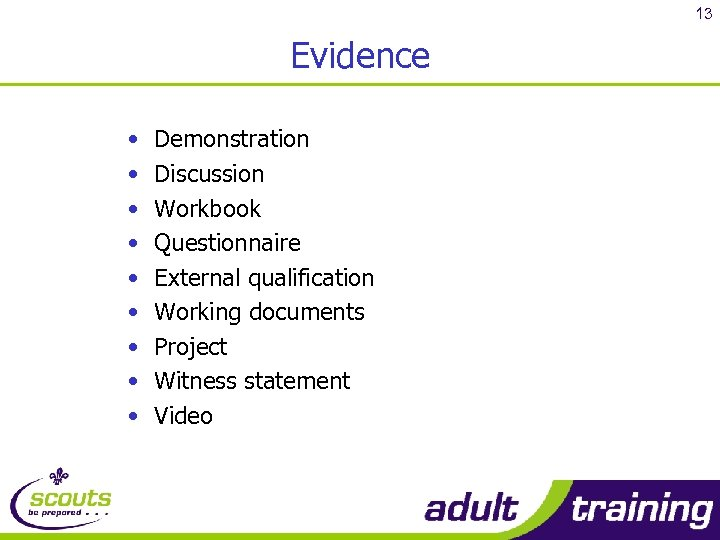 13 Evidence • • • Demonstration Discussion Workbook Questionnaire External qualification Working documents Project
