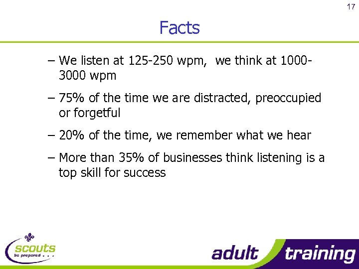 17 Facts – We listen at 125 -250 wpm, we think at 10003000 wpm