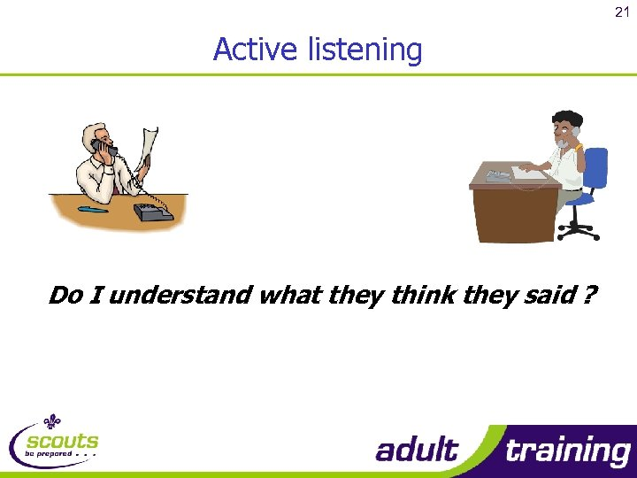 21 Active listening Do I understand what they think they said ?
