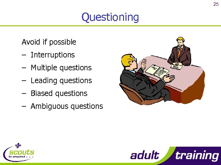 25 Questioning Avoid if possible – Interruptions – Multiple questions – Leading questions –