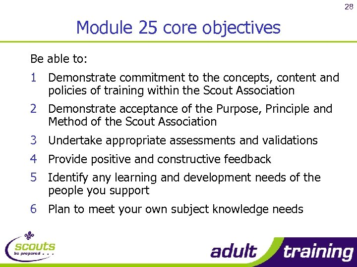 28 Module 25 core objectives Be able to: 1 Demonstrate commitment to the concepts,