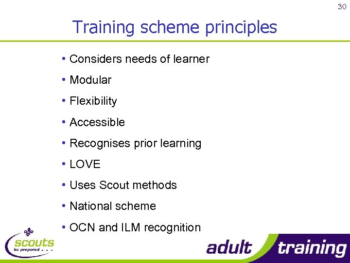30 Training scheme principles • Considers needs of learner • Modular • Flexibility •