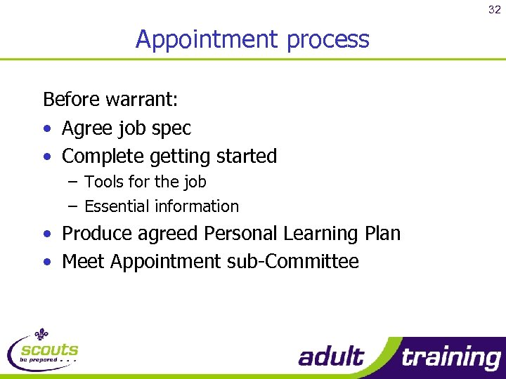 32 Appointment process Before warrant: • Agree job spec • Complete getting started –