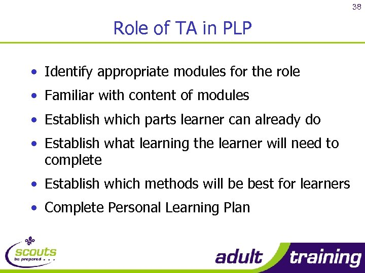38 Role of TA in PLP • Identify appropriate modules for the role •