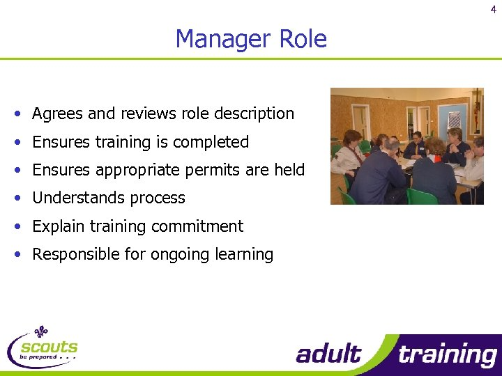 4 Manager Role • Agrees and reviews role description • Ensures training is completed