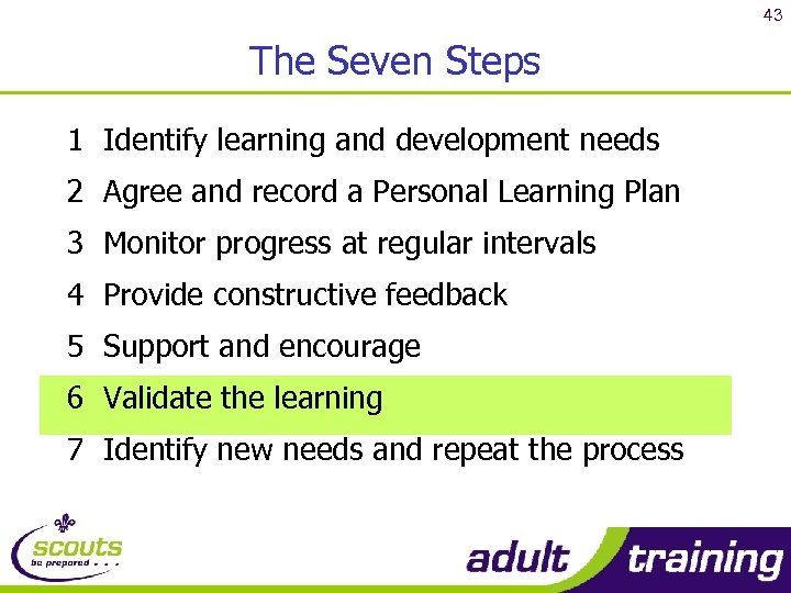 43 The Seven Steps 1 Identify learning and development needs 2 Agree and record