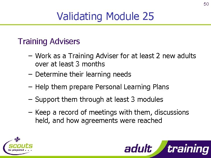 50 Validating Module 25 Training Advisers – Work as a Training Adviser for at