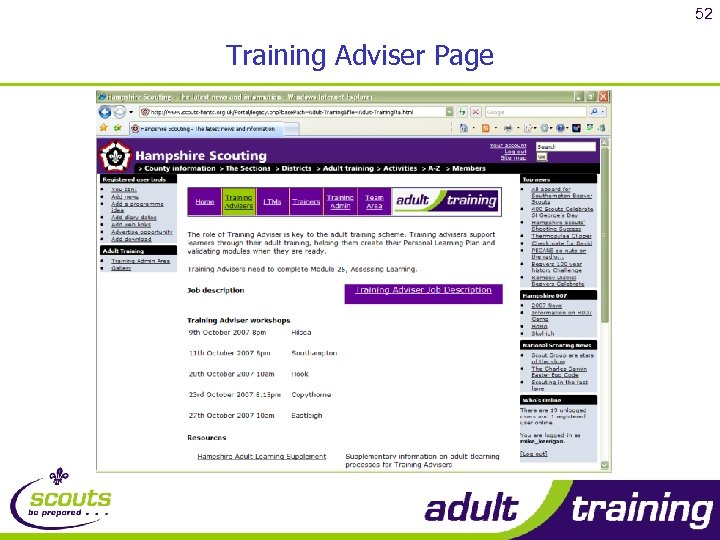 52 Training Adviser Page