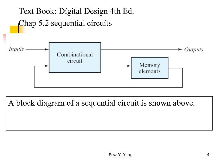 Text Book: Digital Design 4 th Ed. Chap 5. 2 sequential circuits A