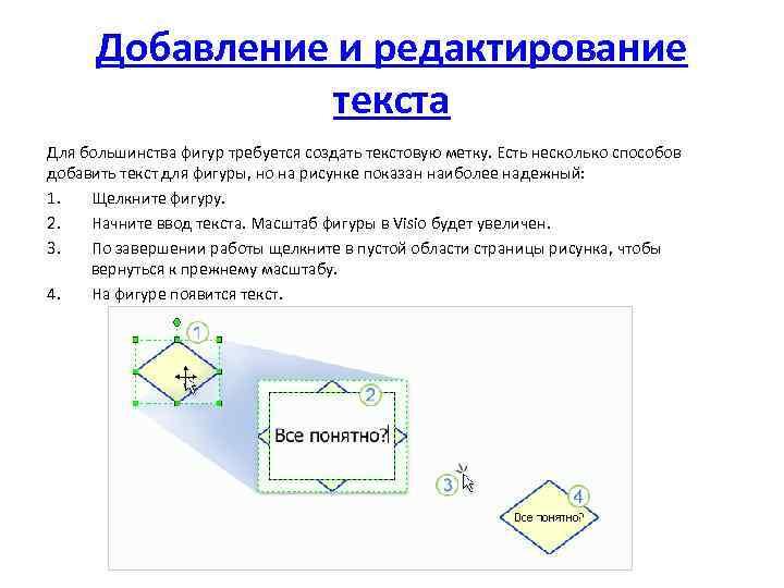 Добавление и редактирование текста Для большинства фигур требуется создать текстовую метку. Есть несколько способов