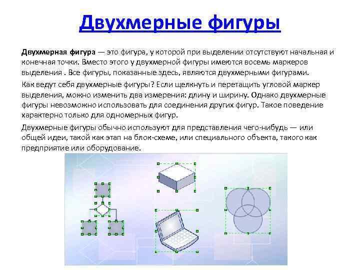 Двухмерные фигуры Двухмерная фигура — это фигура, у которой при выделении отсутствуют начальная и