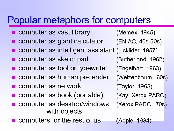 Popular metaphors for computers computer as vast library (Memex, 1945) computer as giant calculator