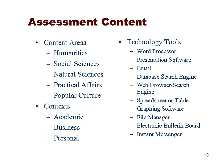 Assessment Content • Content Areas – Humanities – Social Sciences – Natural Sciences –