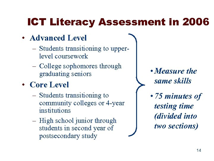 ICT Literacy Assessment in 2006 • Advanced Level – Students transitioning to upperlevel coursework