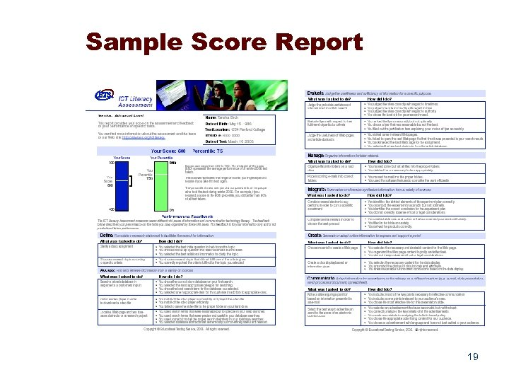Sample Score Report 19