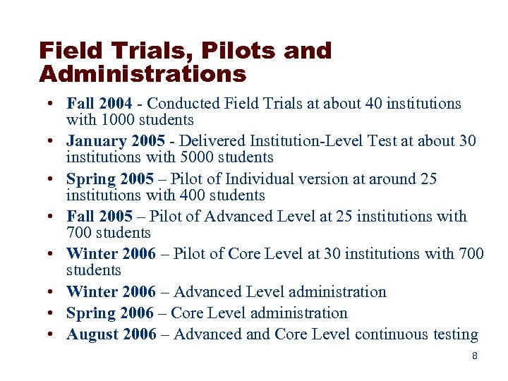 Field Trials, Pilots and Administrations • Fall 2004 - Conducted Field Trials at about